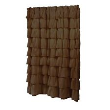 Carmen Brown ruffled tier 100 percent polyester fabric shower curtain Brown NEW