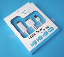 30P Dock Male to HDMI Adapter AV Cable 1080P for iPhone 4 4S iPad 2 3 With Power