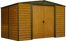 """Arrow Woodridge Galvanized Steel Shed  10' x 12' with 71"""" Wall Height With doors"""