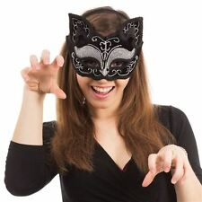 CHRISTMAS NEW YR SEXY BLACK CAT EARS GLITZY EYE MASK~MASQUERADE~BALL~FREE PP UK