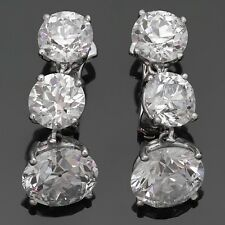 Magnificent Vintage Platinum  Old-European Cut Diamond Dangling Earrings
