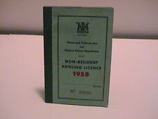 1958 ONTARIO CANADA NATURAL RESOURCES NON RESIDENT FISHING ANGLERS BOOK LICENSE