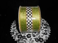 """MACKENZIE CHILDS  TUXEDO 3"""" HOLLY RIBBON, PURCHASE BY THE YARD, OFF OF A NEW ROL"""