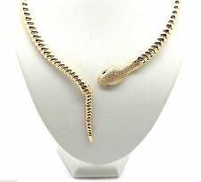 New Snake Rattle Tail Dangle Women Choker Austrian Crystal Necklace Gold
