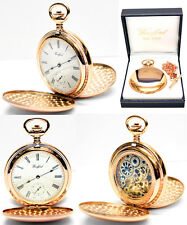 Woodford Twin-Lid Skeleton Pocket Watch 17 Jewel Rose GP Free Engraving (1093)