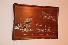 ANTIQUE CHINESE HARDWOOD WALL PLAQUE WITH MOTHER OF PEARL INLAY SCENES