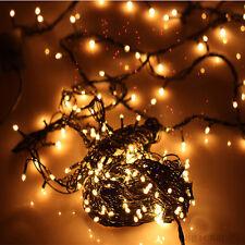 100 LED Weihnachtsbaum Lichterkette Außen Garten Licht Leuchte Deko Warmweiß Neu