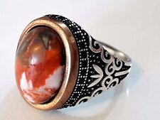 Turkish Ottoman Emerald Agate Gemstone 925 Sterling Silver Men Ring s