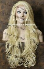 Heat Safe French Lace Front WIG Long Wavy PALE BLONDE  WBKM 613