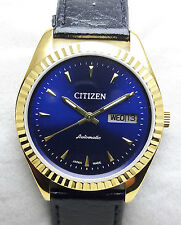 Vintage Citizen Gold Plated Japan Made Automatic Day & Date Mens Wrist Watch