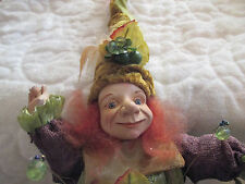 """10"""" Elf Fairy Doll Shabby Chic Woodland Jester with Posable Arms and Legs"""