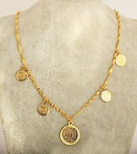 Wave-Chain Coins Charm Pendant Necklace Fashoin Jewelry Gold Plated