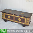 Brasswork solid wood brown indian blanket box storage trunk coffee table chest