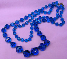Vintage Art Deco Antique Bright Blue Bohemian Crystal Glass Bead Strand Necklace