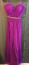 WOMENS LA FEMME MAGENTA STRAPLESS EMPIRE DRESS SIZE 0 PROM QUINCEAÑERA WEDDING