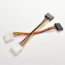 2X 4-Pin IDE Molex to 15-Pin Serial ATA SATA Hard Drive Power Adapter Cable CZ
