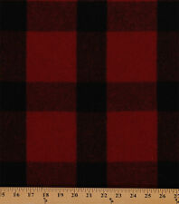 100% Wool Coating Plaid Check Red Black Fabric By the Yard D374.13