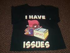 "Chibi Deadpool ""I Have Issues."" T-Shirt Men's S Small Marvel Comics 100% Cotton"