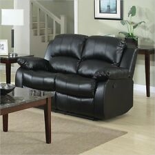 Trent Home Cranley Double Reclining Bonded Leather Love Seat Black Loveseat