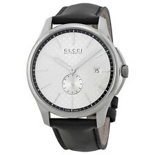 Gucci G-Timeless Automatic Silver Dial Black Leather Strap Mens Watch YA126313