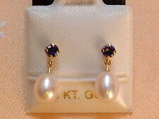 Iolith & Perlen Ohrstecker - 14 Kt. Gold - 585 - Ohrringe - sehr edel !