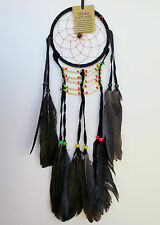 DREAM CATCHER - Medium Black Handmade with Leather Feathers Beads Car Wall Decor