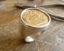 Chevalière argent ronde pièce Souverain en or