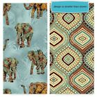 TRIBAL INSTINCTS Elephants and Ogee Pattern Print Cotton Fabric BTY U Choose