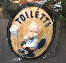 Handmade Ceramic Funny Old Man Restroom Toilet Sign Wall / Home Decor Funny Gift
