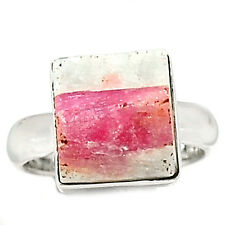 Pink Tourmaline in Quartz 925 Sterling Silver Ring Jewelry s.6.5 PTQR74
