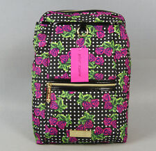 BETSEY JOHNSON Women Backpack Pink Rose Quilted Striped School Bookbags bag 01