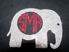 "DIY Iron On GLITTER Vinyl Alabama Elephant With Initials 3""X3.5"" Free Shipping!"
