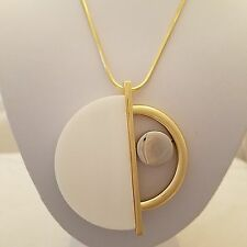 White enamel half circle design medallion pendant with gold plated chain necklac