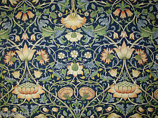 "WILLIAM MORRIS CURTAIN FABRIC DESIGN ""Lodden"" 1.9 METRES INDIGO/MINERAL (190 CM)"