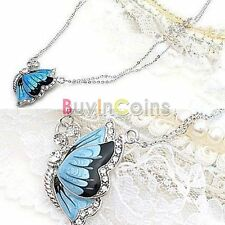 Fashion Charm Crystal Butterfly Pendant Necklace Blue Dual Chain RSUS*