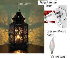 plug in BLACK punched Moroccan electric LANTERN bedside Table Lamp night light