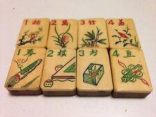 One set of 8 Tiles -Bone/Bamboo - MahJong - 1920s  - 8 Tile Set1