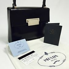 PRADA Black Leather Shoulder/Crossbody Bag +Auth Card & Dust Bag Purse C214