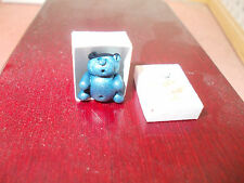 BLUE TEDDY IN A BOX FOR A DOLLS HOUSE