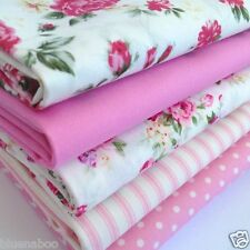 Bundle 5 fat quarters English roses pink & ivory floral fabrics 100% cotton