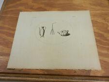 1776 Antique Scotland/Hebrides Print//POURING VASE, TEA KETTLE, HANGER FOR KETTL