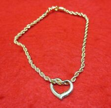9 1/2 INCH 14KT GOLD EP 3MM FRENCH ROPE CHAIN ANKLET WITH THIN FLOATING HEART