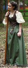 Renaissance Peasant Front-lace Dress Costume BRN/grn ANY SIZE CUSTOM SIZE RC