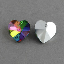 10pcs Heart Electroplated Glass Pendants, Charms, Faceted 14mm RAINBOW