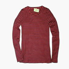J Crew Factory - S - NWT - Red/Navy Striped Ribbed Thermal Top - Crew Tee