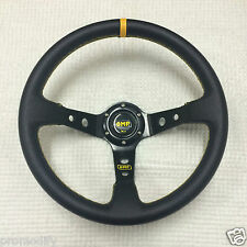 350 mm Genuine Leather Deep Dish Steering Wheel Fit OMP MOMO SPARCO Boss Kit
