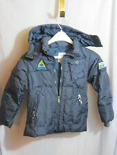 Kids Diesel Navy Blue Ski Down Filled Jacket Snow Winter Removable Hood Small