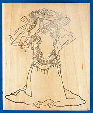 Young Girl Trying On Mother's Wedding Dress Rubber Stamp - Playing Dress Up