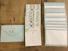 30 pc party Invitations and envelopes light blue floral design with gold foil