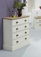 Balmoral Waxed Solid Pine and White 4 Drawer Chest of Drawers - RRP £159.99